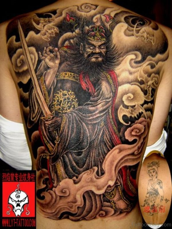Attractive Warrior Tattoo On Back