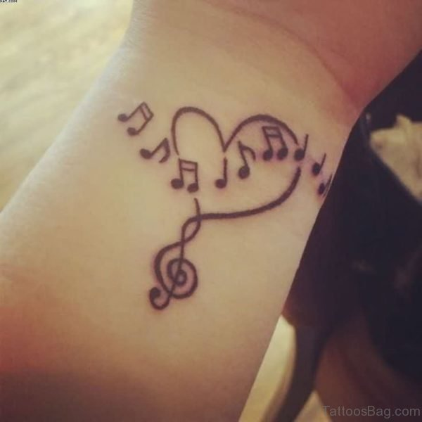 Attractive Music heart Tattoo