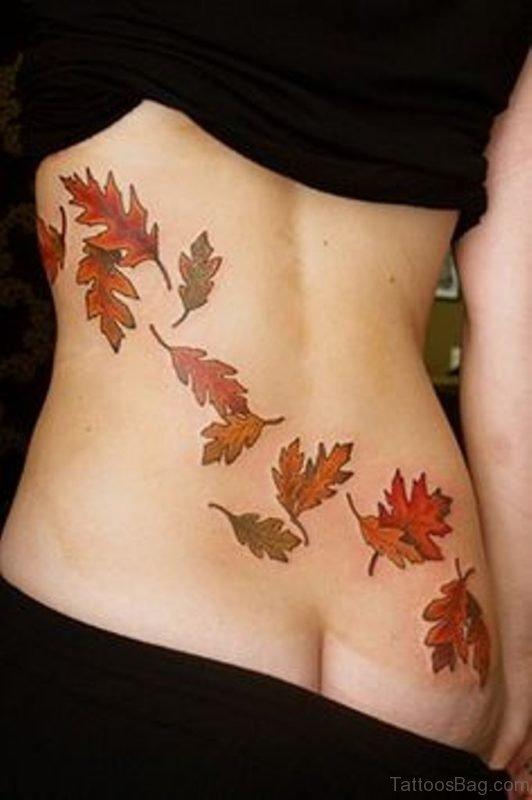Autumn Leaves Tattoo On Lower Back