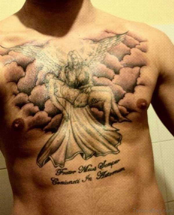 Awesome Angel Tattoo On Chest