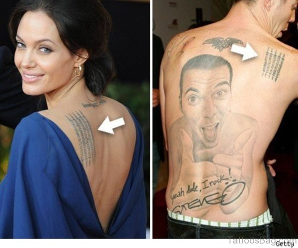 Awesome Angelina Jolie Wording Tattoo
