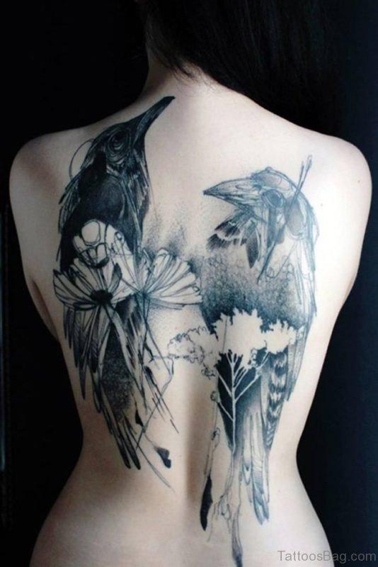 Awesome Black Crow Tattoo