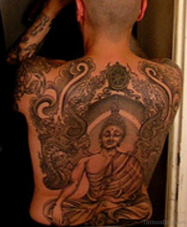 Beautiful Buddhist Tattoo On Back