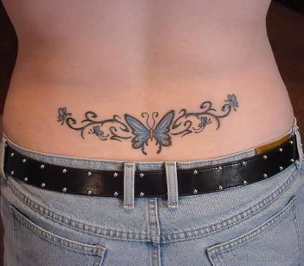 Awesome Butterfly Tattoo On Lower Back