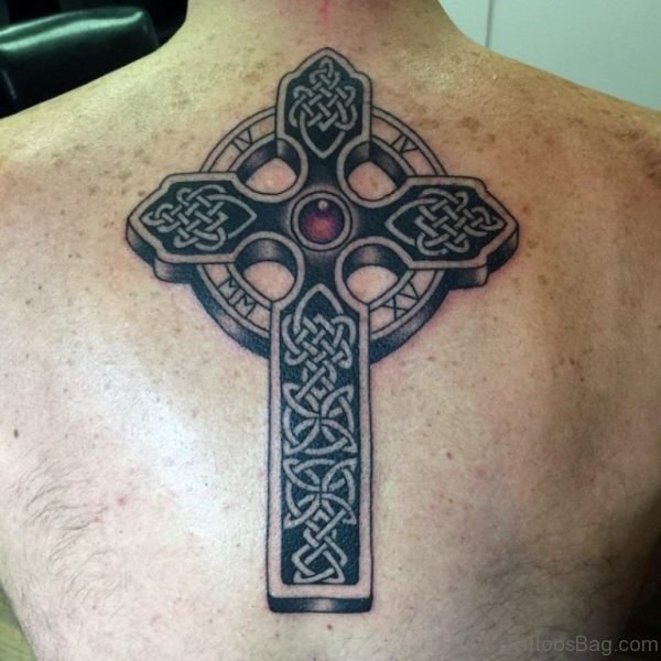 Awesome Celtic Cross Tattoo On Back