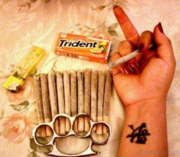 Awesome Chinese Tattoo On Wrist
