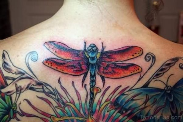 Awesome Color Dragonfly Tattoo On Back