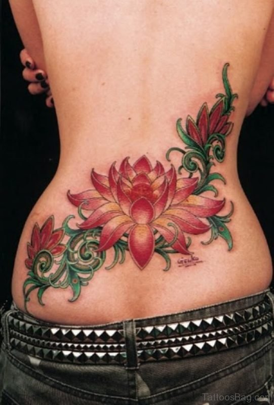 Awesome Colored Lotus Flower Tattoo On Back