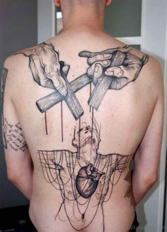 Awesome Cross Tattoo On Back