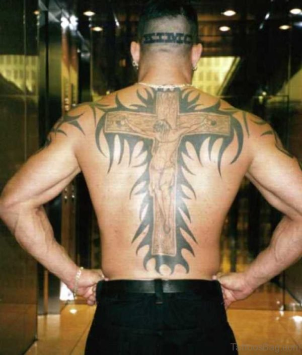 Awesome Cross Tattoo On Full Back