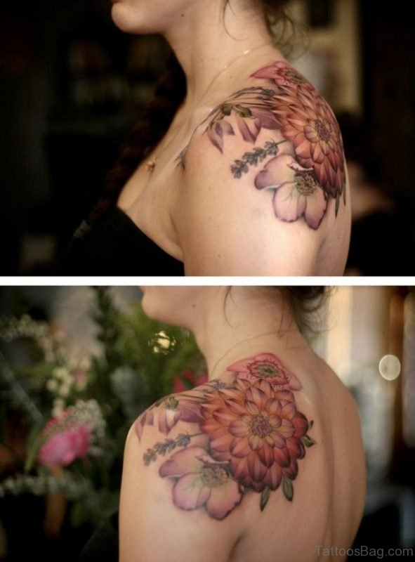Awesome Dahlia Vintage Shoulder Tattoo