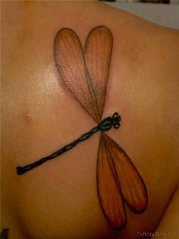 Awesome Dragonfly Tattoo On Back