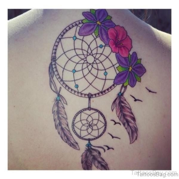 Awesome Dreamcatcher Tattoo On Back
