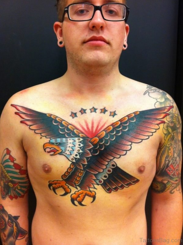 Awesome Flying Eagle Tattoo On Chest