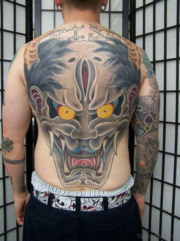 Awesome Grey Ink Asian Hanya Mask Tattoo On Back