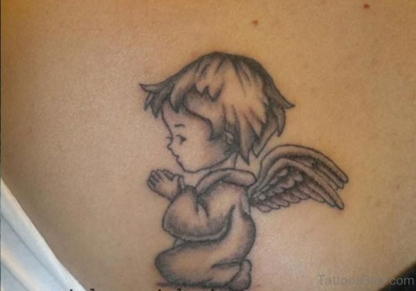 Awesome Grey Ink Memorial Angel Tattoo