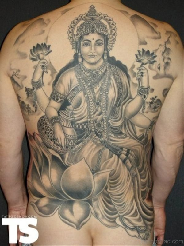 Awesome Grey Ink Religious Goddess Lakshmi Tattoo On Back