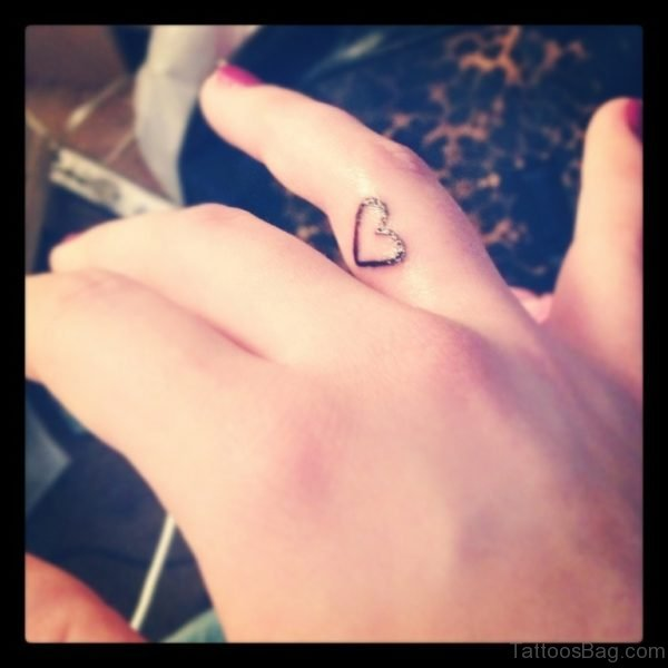 Awesome Heart Tattoo On Finger