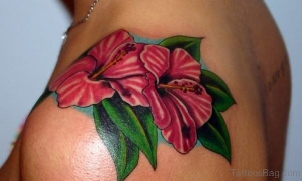 Awesome Hibiscus Flowers Tattoo Design For Shoulder
