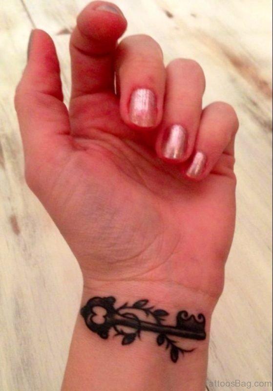 Awesome Key Tattoo On Wrist
