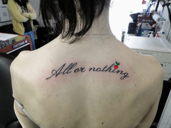 Awesome Lettering Tattoo On Back