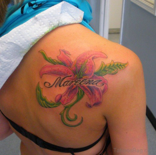 Awesome Lily Tattoo On Back Shoulder