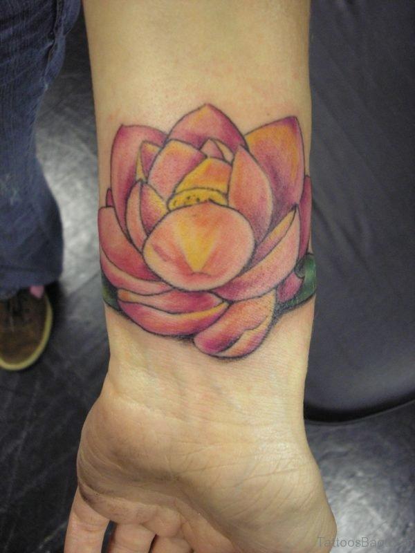 Awesome Lotus Flower Tattoo On Wrist
