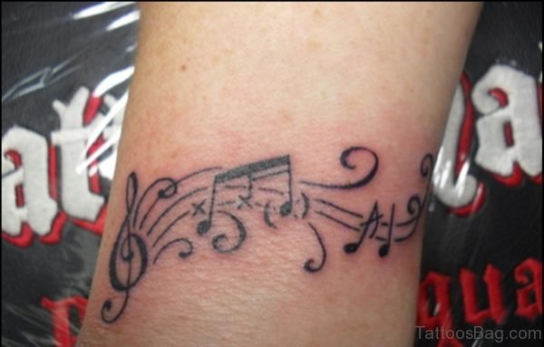 Awesome Music Notes Tattoo On Wrist