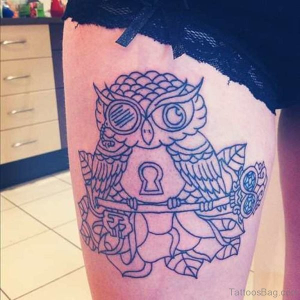 Awesome Owl Thigh Tattoo