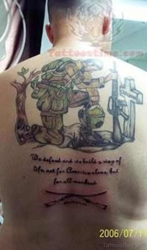 Awesome Patriotic Tattoo On Back