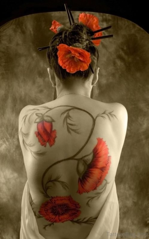 Awesome Poppy Flowers Tattoo On Full Back