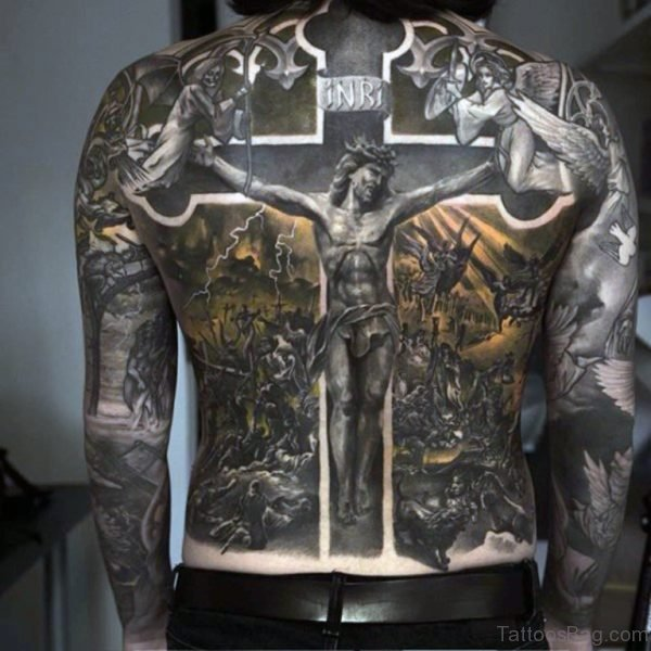 Awesome Religious Tattoo On Full Back