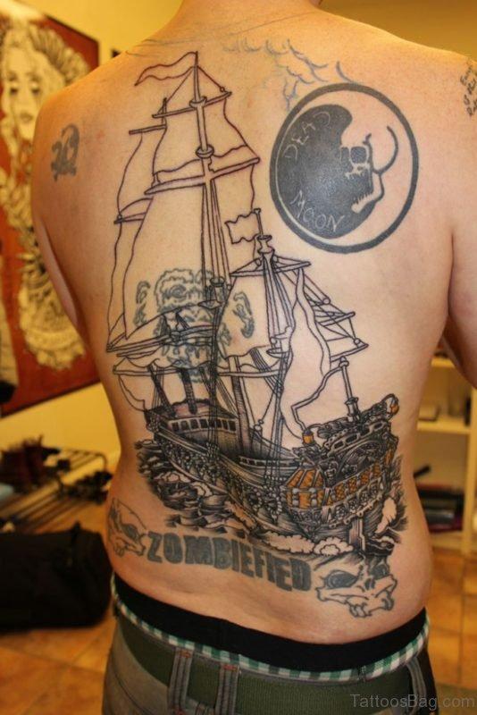 Awesome Ship Tattoo On Back