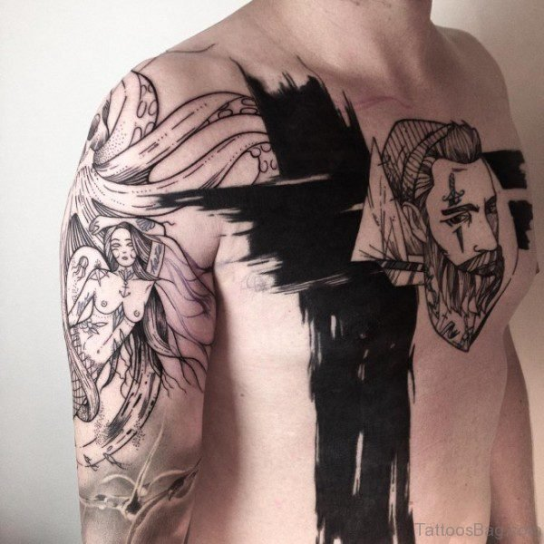 Awesome Shoulder Tattoo Of Angel