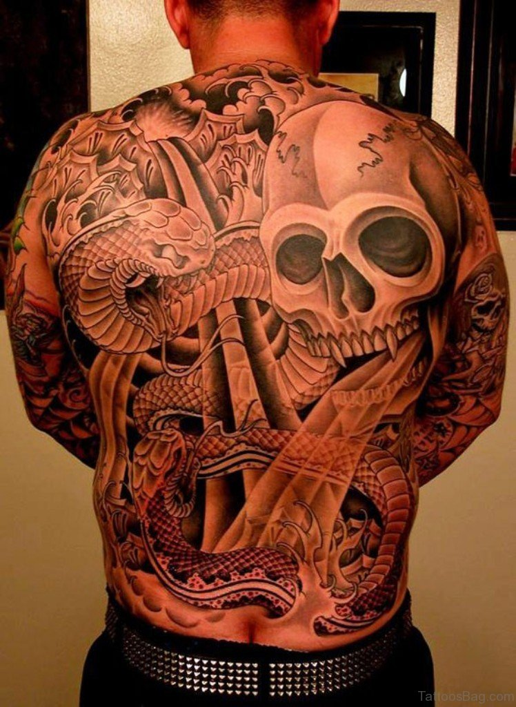 Awesome  Skull And Snake Tattoo