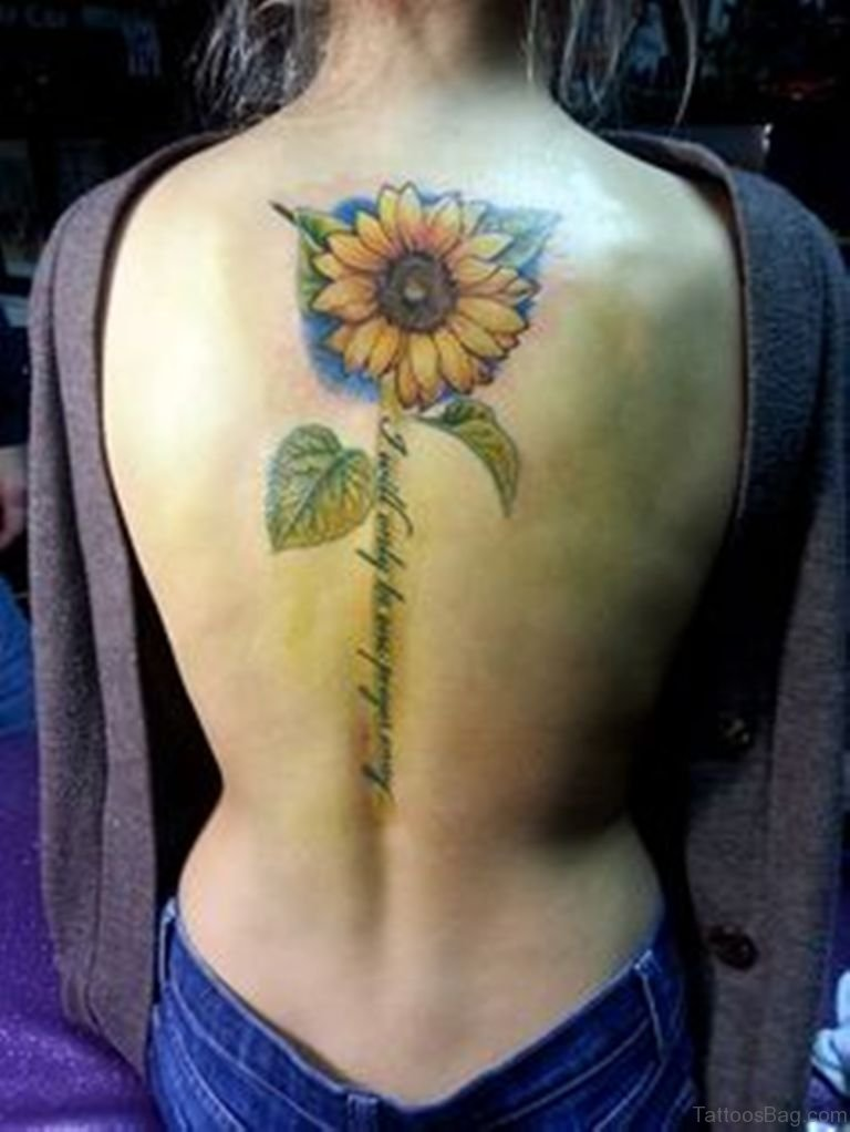 85 pretty sunflower tattoos designs for back for Tattoos of women