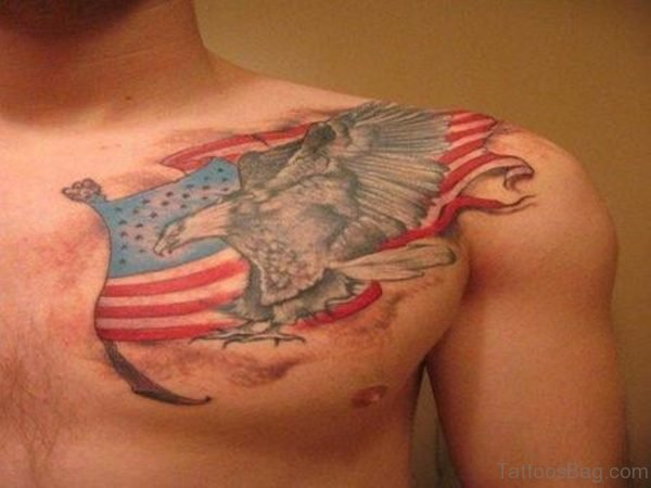 Awesome US Flag n Eagle Tattoo On Chest