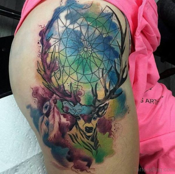 Awesome Watercolor Dreamcatcher Tattoo