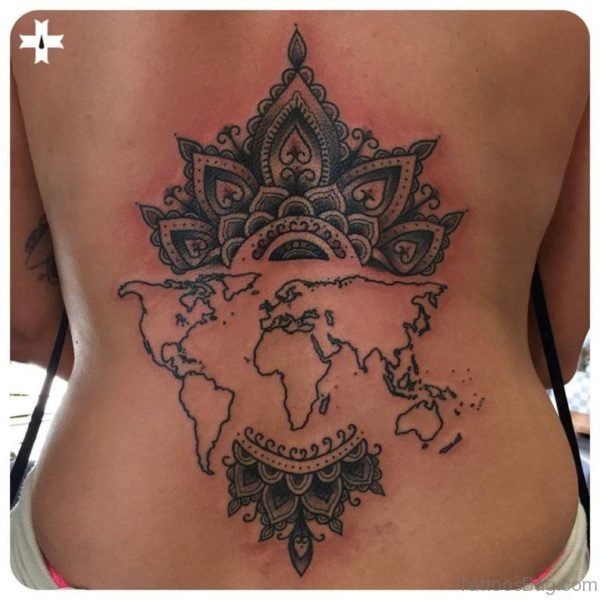 Awesome World Map Tattoo On Back