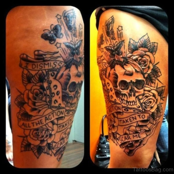 Awesome Skull And Rose Tattoo