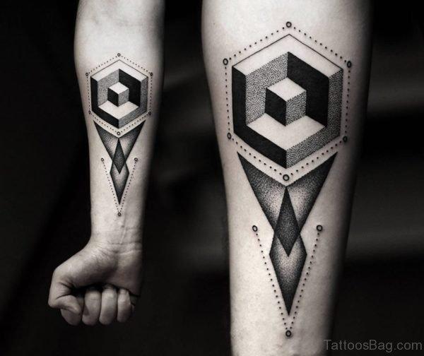 3D Geometric Tattoo On Wrist