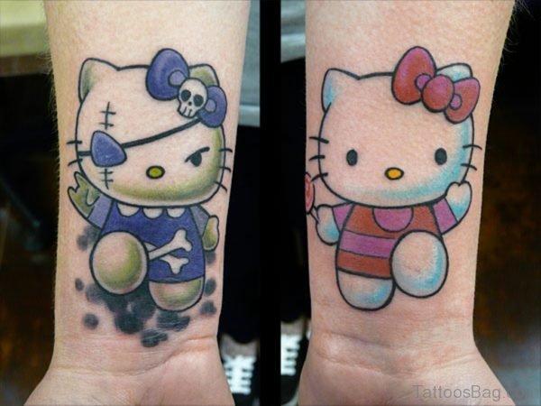 Awesome kitty Wrist Tattoo