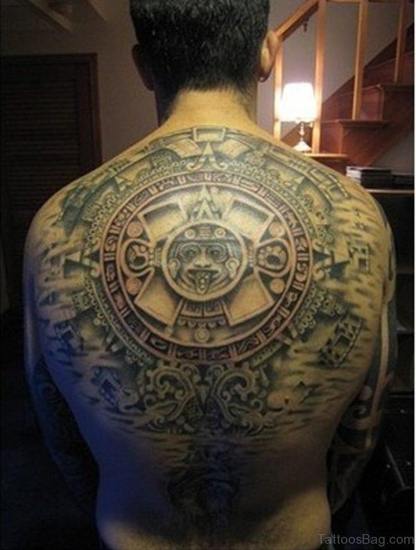 Aztec Calendar Tattoo On Back