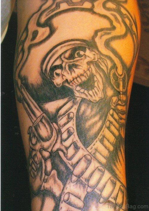Aztec Skull Tattoo On Shoulder