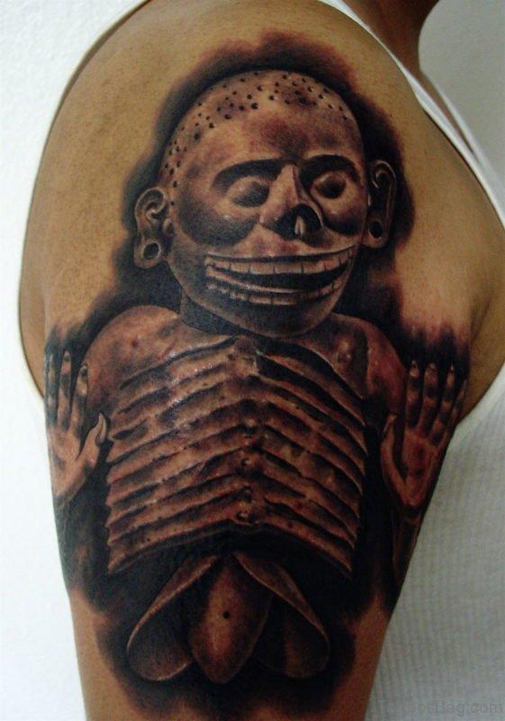 Aztec Skull Tattoo Right Shoulder