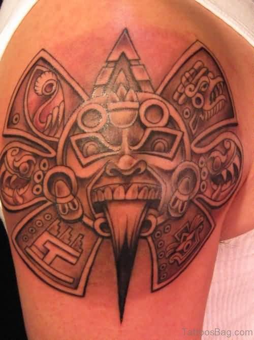 Aztec Tribal Tattoo On Left Shoulder