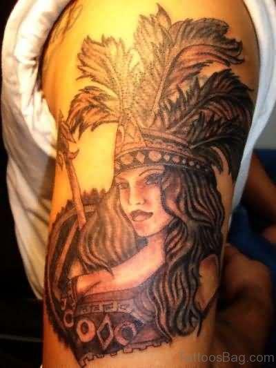 Aztec Tattoo On Left Shoulder