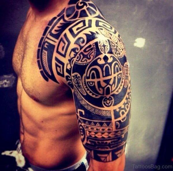 Aztec Tribal Tattoo On Shoulder