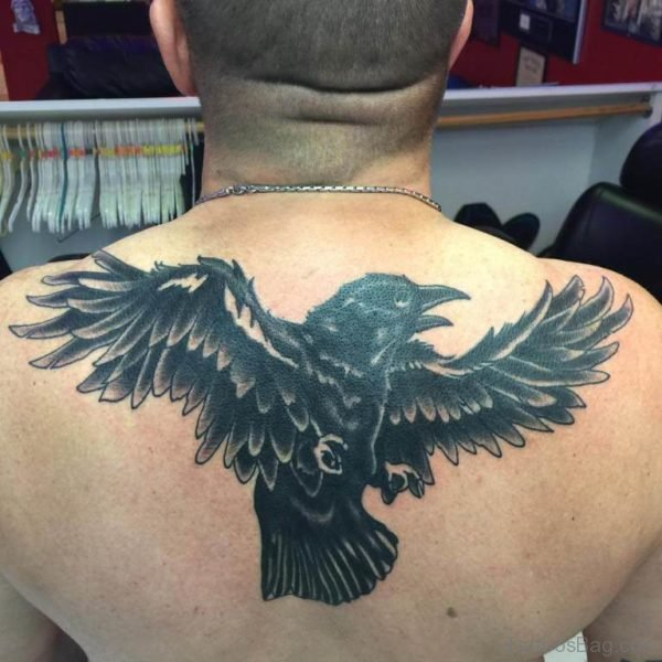 Back Crow Tattoo for Gents