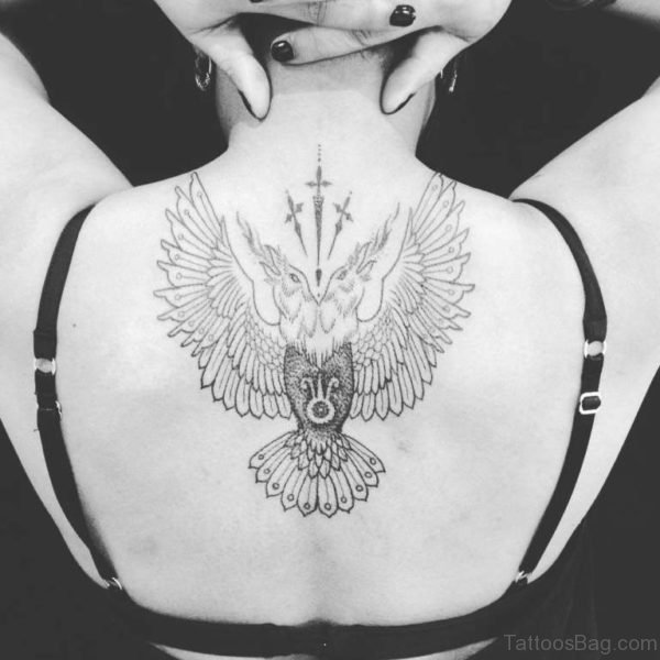 Back Crow Tattoo For Girls